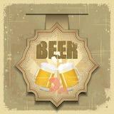 Vintage postcard, cover menu - Beer, beer snack. Retro style  - illustration Royalty Free Stock Photos