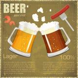 Vintage postcard, cover menu - Beer, beer snack. Retro style  - illustration Royalty Free Stock Images