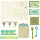 Vintage Postcard with design Elements Stock Photo