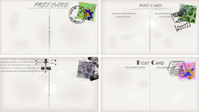 Vintage postcard designs. And postage stamps Stock Images