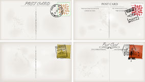 Vintage postcard designs. And postage stamps for your text Royalty Free Stock Images