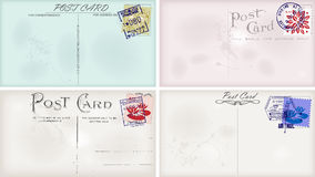 Vintage postcard designs. And postage stamps for your text Stock Photos