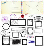 Vintage postcard designs envelopes and black stamps Royalty Free Stock Images