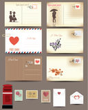 Vintage postcard designs, love postcard Stock Photo