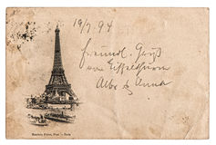 Vintage postcard with Eiffel Tower in Paris, France. Rare vintage postcard with Eiffel Tower in Paris, France, circa 1894 stock images