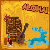 Vintage postcard with  featuring Hawaiian masks, guitars. And cocktails. eps10 Stock Photos