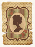 Vintage postcard with female silhouette Royalty Free Stock Images