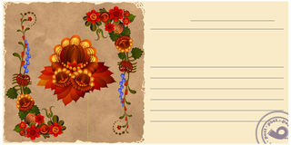 Vintage postcard with floral patterns. Stock Images