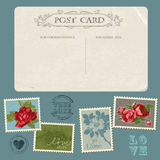 Vintage Postcard with Flower Stamps Royalty Free Stock Image
