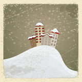 Vintage postcard with a group of houses. In the snow royalty free illustration