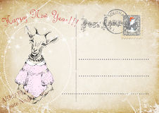 Vintage postcard.hand drawing of goat.happy new year. illustration Stock Photography