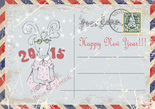 Vintage postcard.hand drawing of goats.happy new year. illustration Royalty Free Stock Photo
