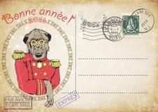 Vintage postcard,hand drawing of monkey Royalty Free Illustration