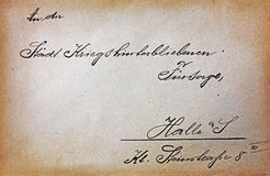 Vintage postcard with handwriting text Stock Photography
