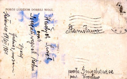 Vintage postcard with handwritten message Stock Images