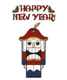 Vintage postcard happy new year, Nutcracker Stock Image