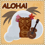 Vintage postcard with Hawaiian elements. Royalty Free Stock Photos