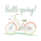 Vintage postcard Hello spring Stock Photography