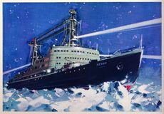 Vintage postcard with Lenin icebreaker. Vintage postcard with icebreaker Lenin. This is a the world`s first nuclear-powered civilian vessel. Launched in 1957 stock image