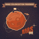 Vintage postcard of Mars colonization project Royalty Free Stock Photography