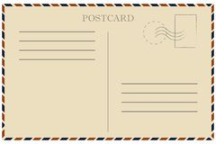 Vintage postcard. Old template. Retro airmail envelope with stamp vector illustration