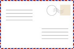 Vintage postcard. Old template. Retro airmail envelope with stamp. Vector Stock Photo