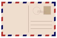 Vintage postcard. Old template. Retro airmail envelope with stamp royalty free illustration