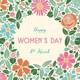 Vintage postcard with pastel coloured flowers - Women`s Day. royalty free stock image