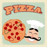 Vintage postcard with pizza and cook. Royalty Free Stock Photos