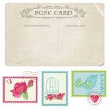Vintage Postcard and Postage Stamps Stock Image