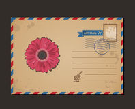 Vintage postcard and postage stamps. Design flower Royalty Free Stock Photography