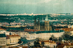 Vintage postcard with Prague Castle Royalty Free Stock Photos