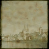 Vintage postcard with Regensburg cityscape Stock Photo