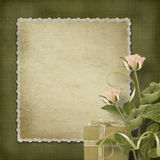 Vintage postcard with roses and gifts Stock Photography