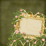 Vintage postcard with roses and ribbons Royalty Free Stock Photos