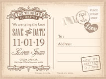 Vintage postcard save the date background for wedding invitation stock illustration