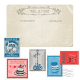 Vintage Postcard with Set of Stamps Royalty Free Stock Photography