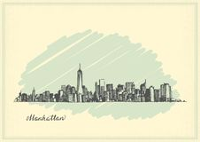 Vintage postcard with sketch of Manhattan New York Royalty Free Stock Photos