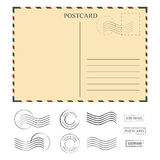 Vintage postcard with stamps, template. Set of stamps Royalty Free Stock Photography