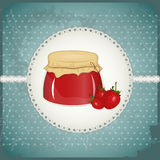 Vintage Postcard - strawberry jam Stock Photo