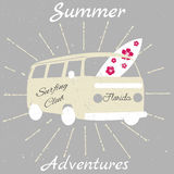 Vintage postcard with surfing board and van. Summer Adventures Stock Illustration
