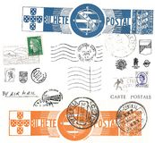 Vintage postcard symbols and stamps Stock Photography