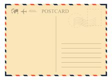 Vintage postcard template. Retro airmail envelope with stamp, airplane and globe. Vector Royalty Free Stock Photos