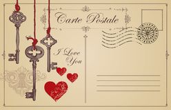 Vintage postcard the theme of declaration of love stock illustration