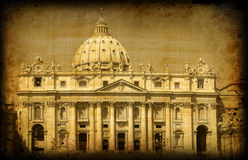 Vintage postcard, Vatican, cathedral of st. Peter royalty free stock images