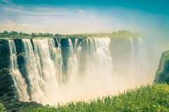 Vintage postcard of Victoria Waterfalls - Zimbabwe Stock Image