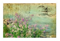 Free Vintage Postcard With Flowers Royalty Free Stock Image - 7838556