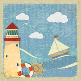 Vintage postcard with a yacht, a lighthouse and the wheel. Stock Photos