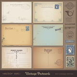 Vintage postcards. Antique postcards - set of 6 vintage postcard designs and postage stamps Royalty Free Stock Photos