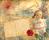 Vintage postcards. Vintage retro stack of postcards with antique doll vector illustration